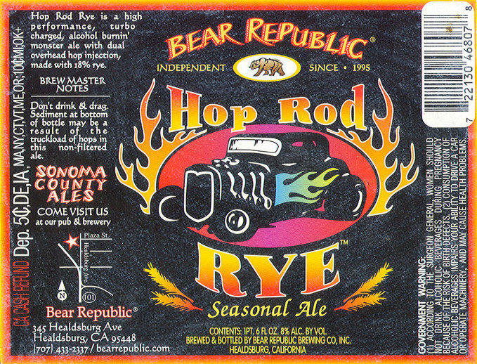 Bear Republic Hop Rod Rye Label